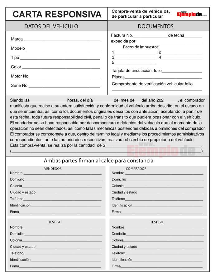 Formato de carta responsiva compra venta auto para imprimir