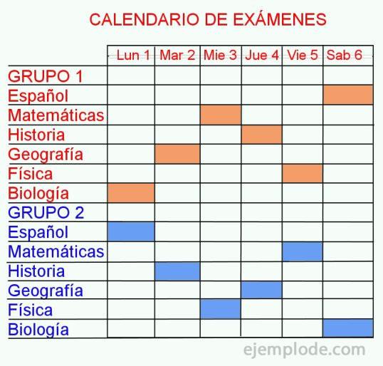Diagrama de Gantt, calendario de escuela.
