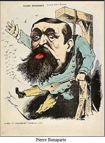 Escarnio de Pierre Bonaparte, caricatua política atigua