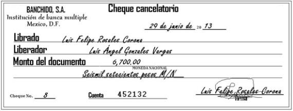 cheque cancelario