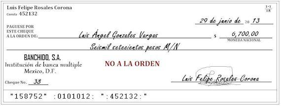 Ejemplo de un cheque a la no orden por 6700 pesos
