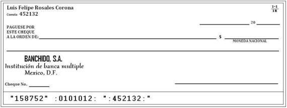 Ejemplo De Cheque Simple