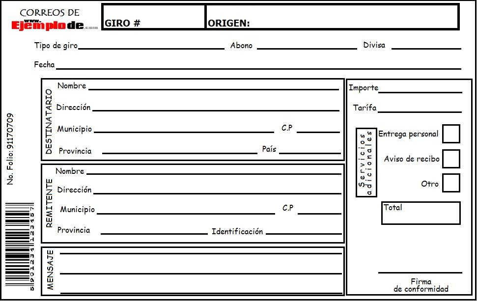 Ejemplo de giro postal for Oficina de empleo por codigo postal