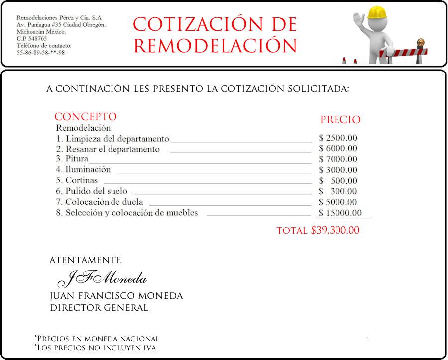Ejemplo de presupuesto o cotizaci n for Cotizacion cocina