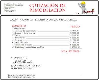 Ejemplo de presupuesto o cotizacion