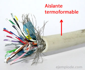 Aislante termoformable en cables.