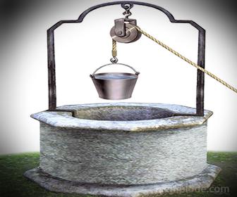 Poleas en pozo de extracción de agua