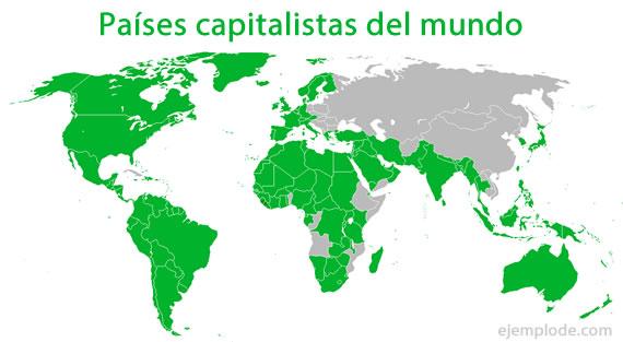 Mapa de países capitalistas del mundo.