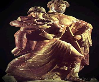 El rapto de Ganímedes (izq), por Zeus (der)