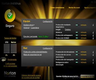 Pantalla de un Antivirus en Operación