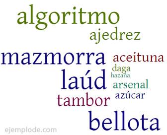 Ejemplos de arabismos.