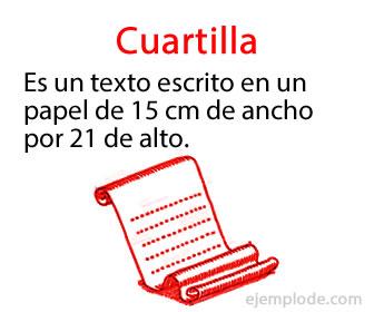 La cuartilla es un escrito en papel o digital que tiene el formato de 15cm x 21 cm, suele escribirse a espacio y medio o doble espacio.