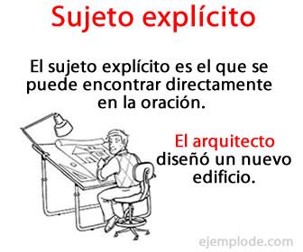 El sujeto explicito es el sujeto que se encuentra escrito en la oración.