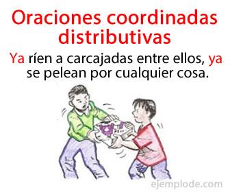 Las oraciones coordinadas distributivas son las que se unen mediante nexos distributivos
