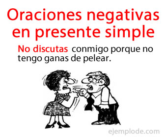 Las oraciones negativas en presente simple se caracterizan en que el verbo se niega por el adverbio.