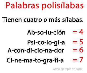 Las palabras polisílabas tienen cuatro o más sílabas.