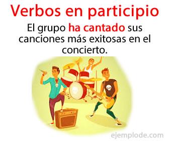 Los verbos en participio son los que terminan en –ado, -ido, -to, -so, -cho.