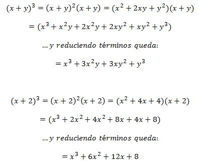Ejemplos de Binomio al Cubo