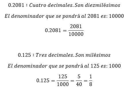 Ejemplos de conversión de fracciones