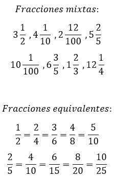Ejemplos de fracciones mixtas y equivalentes