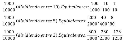 Fracciones equivalentes por división