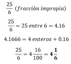Conversión de una fracción impropia