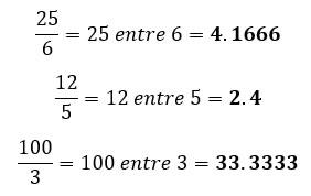 Conversión de fracción impropia a número decimal