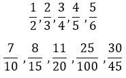 Ejemplos de fracciones propias
