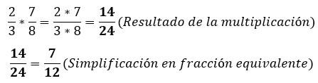 Multiplicación de fracciones con fracción equivalente