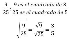 Raíz cuadrada exacta de una fracción