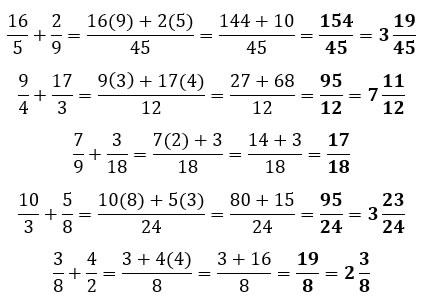 Ejemplos de suma de fracciones