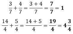 Suma de fracciones con el mismo denominador