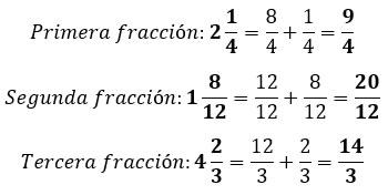 Fracciones transformadas en impropias
