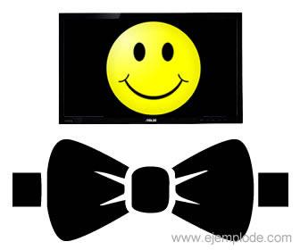 Moño elegante con cara feliz en monitor de computadora.