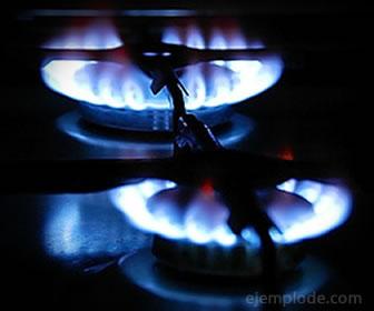 Combustión del gas metano en estufa.