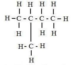 Fórmula desarrollada del isopentano