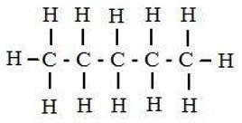 Fórmula desarrollada del pentano.